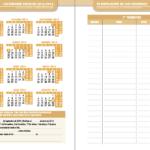 Calendario y hoja de exámenes agenda escolar de primaria